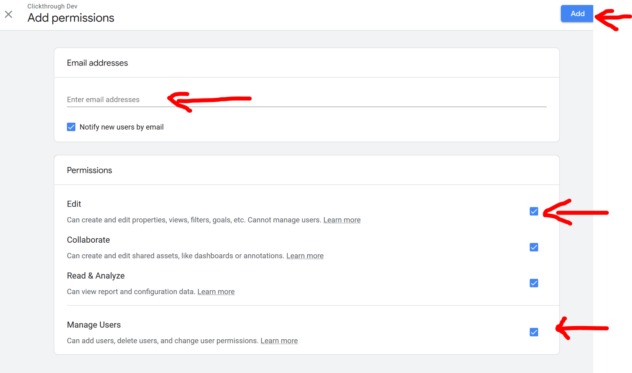 Step 4: manage user permissions