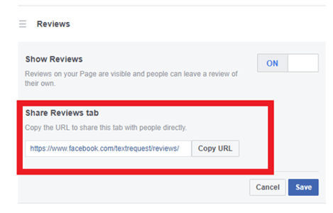 Facebook review link example